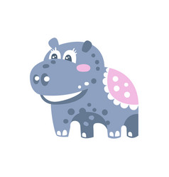 cute cartoon hippo character standing on four legs vector image