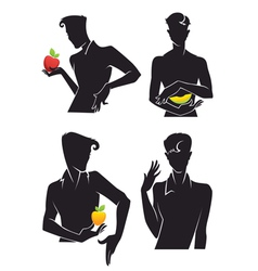 handsome men and fruits vector image