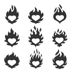 heart flame set vector image vector image