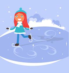 winter scene with children vector image