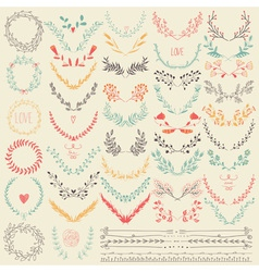 Big collection of hand drawn floral graphic design vector image