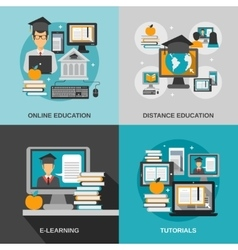 E-learning flat set vector