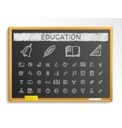 Education hand drawing line icons chalk sketch vector image vector image