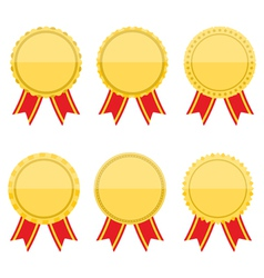 Flat Golden Medals with Rbbons vector image vector image