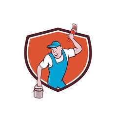 House painter paintbrush paint bucket crest vector