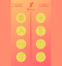 Medicine and health care thin icons set vector