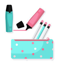 pencil case with pencils and markers vector image vector image