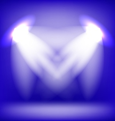 Two Spotlights Isolated on Blue Background vector image vector image