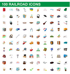 100 railroad icons set cartoon style vector image vector image
