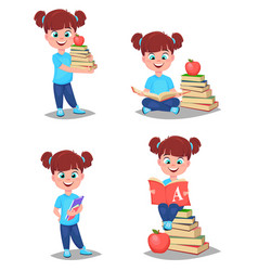 back to school cute girl is ready for studying vector image vector image
