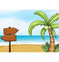 Blank signboard made of wood vector image vector image