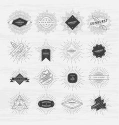 circle badges set with sunburst frames vintage vector image vector image