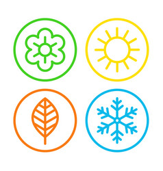 four seasons icon set vector image vector image