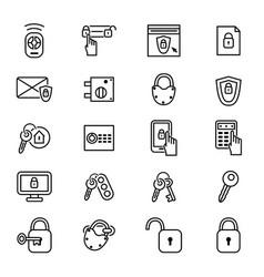 keys and locks thin line icon set vector image vector image