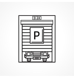 Line icon for parking garage vector image