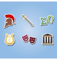 color icons with greece symbols vector image vector image
