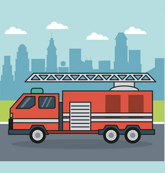 colorful background with firetruck on the vector image vector image