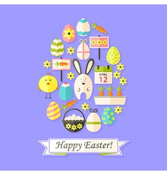 Easter Holiday Card with Flat Icons Set Egg shaped vector image vector image