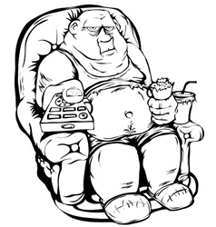 Fat man with a remote control vector image vector image