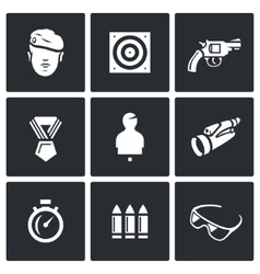 Set of Shooting Range Icons Soldier Shoot vector image vector image