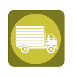 Square emblem of truck with wagon vector