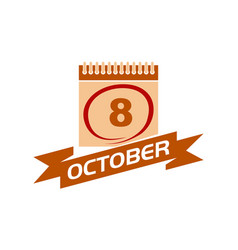 8 october calendar with ribbon vector