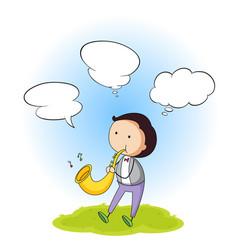 a boy with speech bubble vector image