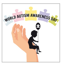 Autism a small lonely boy sits on the hand vector