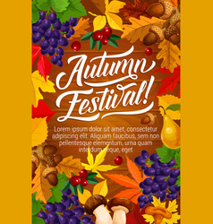Autumn festival poster with fall harvest and leaf vector