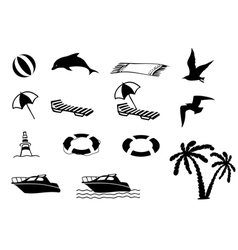 Beach icon collection vector