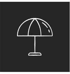 beach umbrella chalk white icon on black vector image