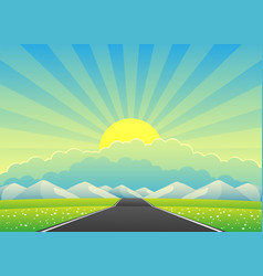 Beautiful landscape with a road to mountains vector