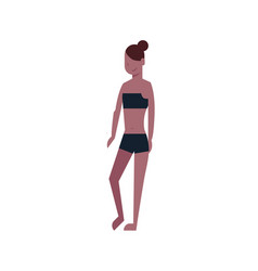 bikini woman standing black swimsuit on white vector image