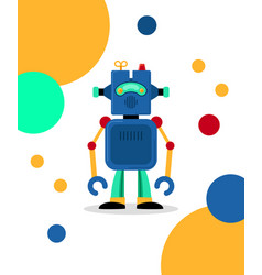 Blue robot card vector