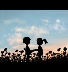boy and girl are standing together and holding vector image