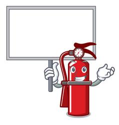 Bring board fire extinguisher character cartoon vector