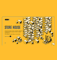 Cargo storehouse isometric webpage template vector