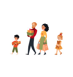 cartoon family walking with shopping bags gift vector image