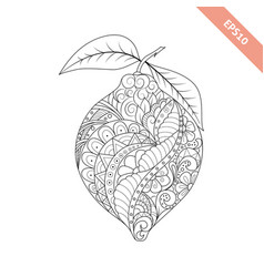cartoon lemon with floral ornament vector image