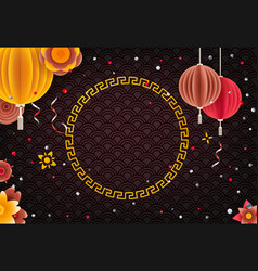 chinese style holiday frame template for a text vector image