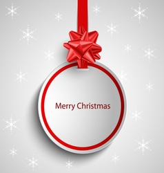 Christmas card with red round sign pointer vector image