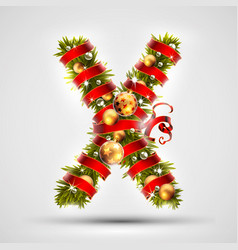 Christmas font letter x of christmas tree vector