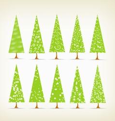 Christmas trees set vector