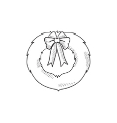 Christmas wreath sketch icon vector image
