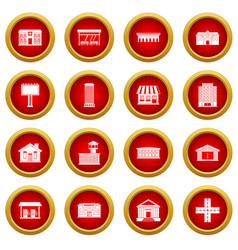 City infrastructure items icon red circle set vector