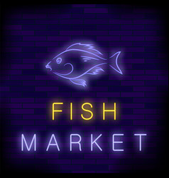 colorful neon fish market sign vector image