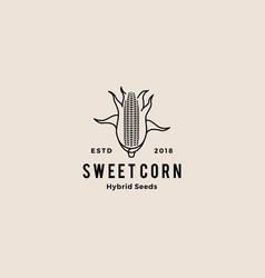 corn logo retro hipster vintage icon vector image