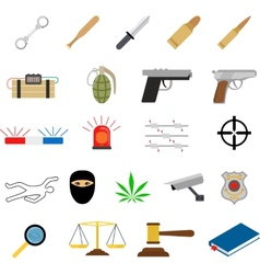 Crime icons in flat colors style vector image