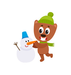 cute bear character making snowman in winter vector image