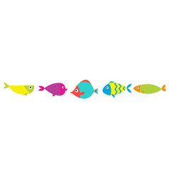 cute cartoon fish icon set line bakids vector image